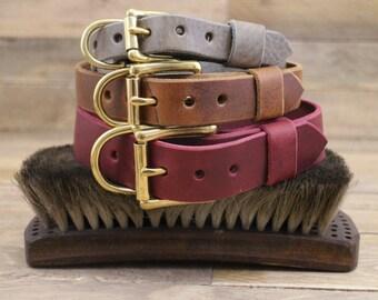 Adjustable dog collar, FREE ID TAG, Handmade leather collar, Dog collar, Collar, Gold hardware, Solid brass buckle, Classic collar.