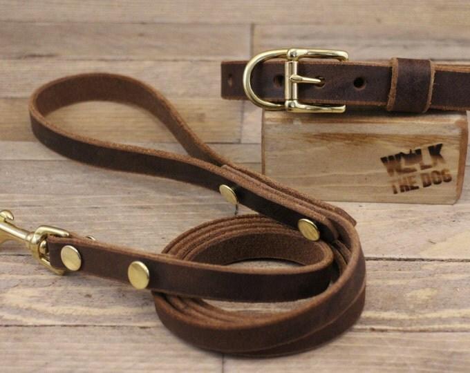Leather leash,Handmade leash, Dog leash, Pet gift, Brown leather leash, Leash, Strong leather leash, Leather lead, Lead.