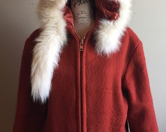 Arctic Fox For Lined Hood Canadian Long Parka Cream Wool Eskimo Arctic Women's Medium Red Melton Metal Zipper Thick Wool Winter Snow Ice