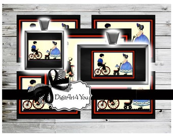 High Resolution Digital Download  for Children or Kids. Baby Stroller and Bicycle or Tricycle. Printable Collage of Inchies and Dominoes.