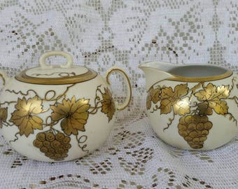 FREE SHIPPING * 1900's Prussian Sugar and Creamer Set White accented with 24kt gold in grapevine pattern