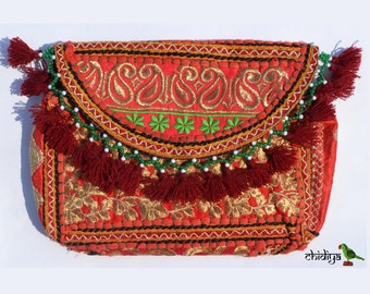 AZIN CLUTCH- Banjara bag, Banjara Clutch India, Boho Bag, Gypsy Bag