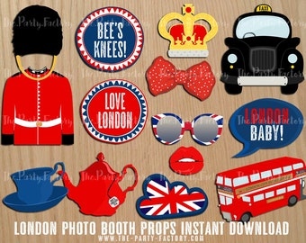 London Baby! Photo Booth Props Instant Download, Digital File, Printables