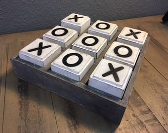 Noughts And Crossses Wooden Box Game Ornament