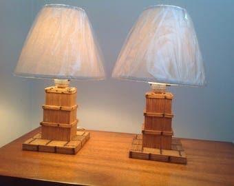 Vintage Matchstick Lamps Prison Art Tramp Art Folk Art