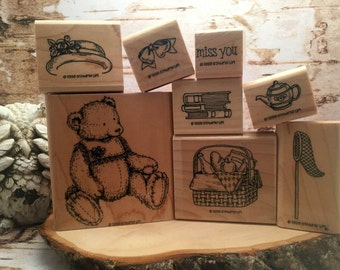 Retired Stampin' Up Bow Bear Stamp Set (1998)