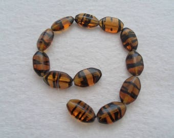 18 mm x 10 mm Tortoise Czech Glass Beads (1472)