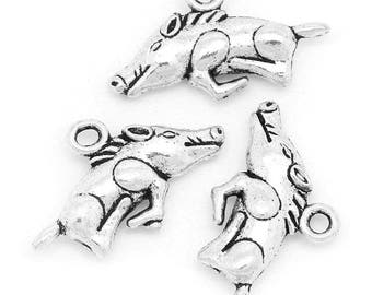 10 Antique Silver Metal Alloy Razorback Hog Charms 13x22mm (B171c)