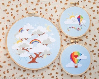 Rainbow Cross Stitch Pattern PDF Set | Whimsical Cloud Tree, Hot Air Balloon & Kite | Easy | Modern | Beginners Counted Cross Stitch Pattern