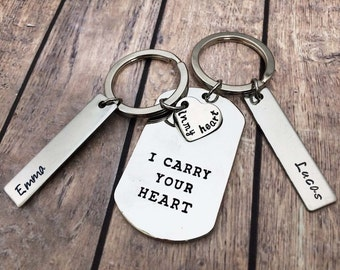 Keychain couple set - I carry your heart - Christmas Gifts for him - Birthday gifts keychain for men and women - Love gifts him and her