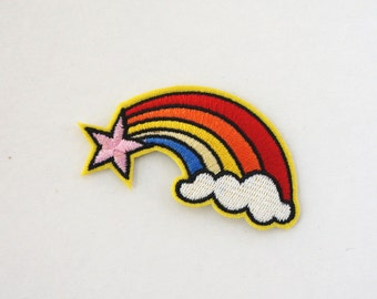 Pink Star Rainbow on Cloud Embroidered Sew Iron on Patch