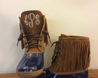 Sale Now 44.00 FRINGE DUCKBOOTS   Navy /Tan Suede, Monogram on Tongue, adult Duck Boots, Rain Boot, Boat-Shoe Style, Shoes
