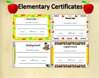 Set of 8 Printable Elementary Certificates~Digital School Certificates~Printable Elementary Awards~Digital Awards~Set of Certificates