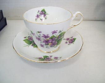 Regency English Bone China Violet Teacup & Saucer, 1950's, Made in England FREE SHIPPING in US
