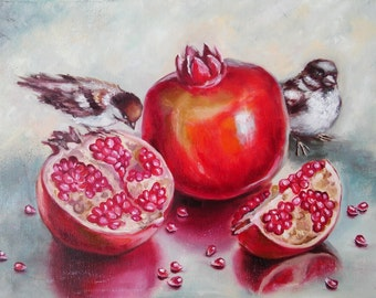 Juicy pomegranates Oil Painting Fruits