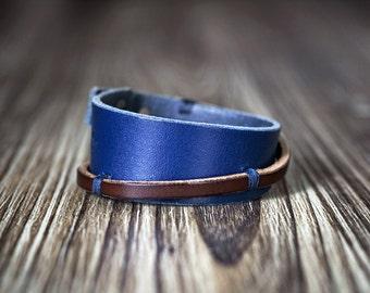 Blue leather bracelet cuff - Women's bracelet - Men's bracelet