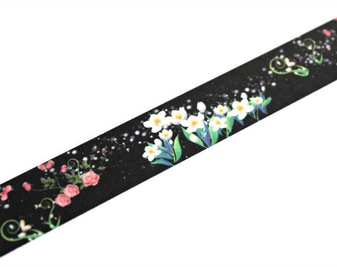 Floral Washi Tape - Washi Tape - Black Flower Washi Tape - Paper Tape - Planner Washi Tape - Washi - Decorative Tape - Deco Paper Tape