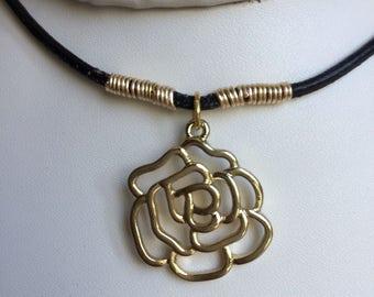 Choker necklace, Leather choker necklace.