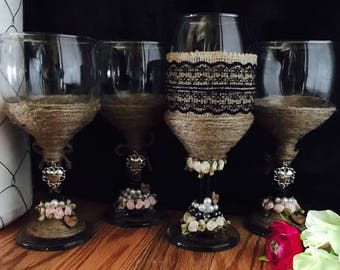 Rustic Wine Glass Set,Country Wine Glass Set, Special Occasion Wine Glass,Wine Glass Set,Bachelorette Party Wine Glass Set