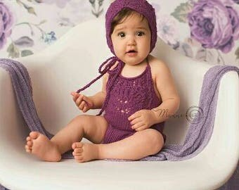 Sitter girls romper, sitter knitted romper, purple sitter romper, knitted baby clothes