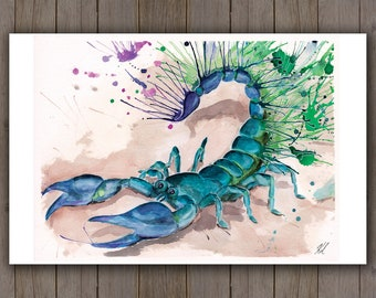 Watercolour Art Print - Bright Splatter Scorpion / Blue Green Insect / Cute Abstract Splatter Handpainted Watercolor Painting / Scorpio Gift