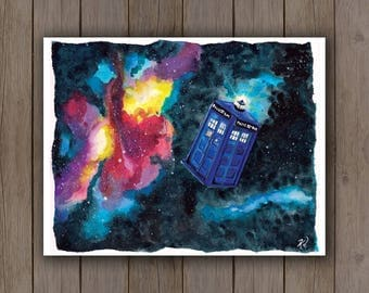 Watercolour Art Print - Dr. Who Tardis in Space / Whovian Fan Art / Galaxy Handpainted Watercolor Painting / Awesome Geek Gift