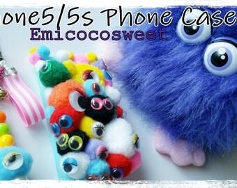 SALE 50% Pom Pom Phone Case,Decoden Kawaii iPhone iPhone5/5s Case Cover,Kawaii Phone Case,Monster Phone Case,Monster Pom pom Phone Cover