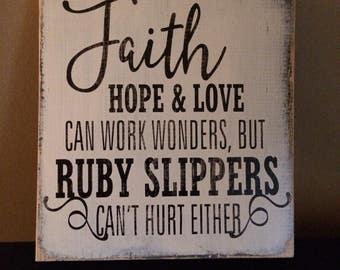 Faith hope and love wooden sign, wall decor