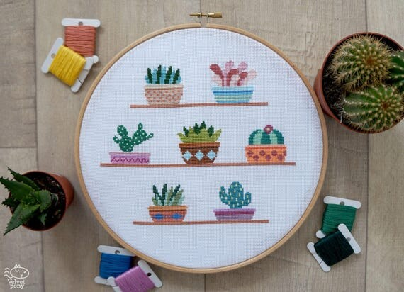 Cactus cross stitch pattern pdf cute