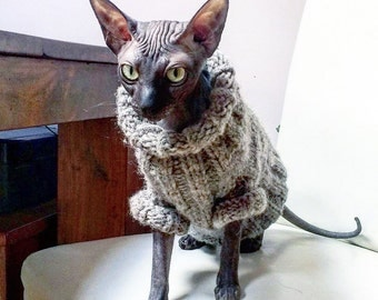Hand knitted 100% eco wool coat for small dog or cat.Knitted outfits for pets.Jamper,vest,pulower,jacket for Sphynx, Cornish Rex,Devon Rex