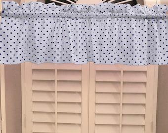 Cotton Valance Polka Dots & Spots Small Dot Navy on White / Window Decor / Window Treatments