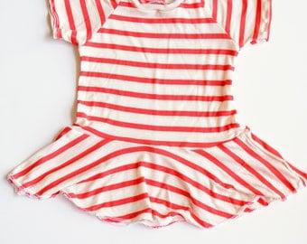 Baby Toddler Peplum Top, Red Striped Peplum Top