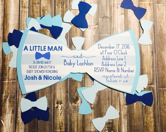 BOW TIE Baby Shower, Birthday Invitation, Bow Tie Decoration, Bow Tie Confetti,