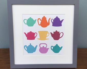 Teapots / Tea lovers gift / Wall Art / Birthday Present / Gift
