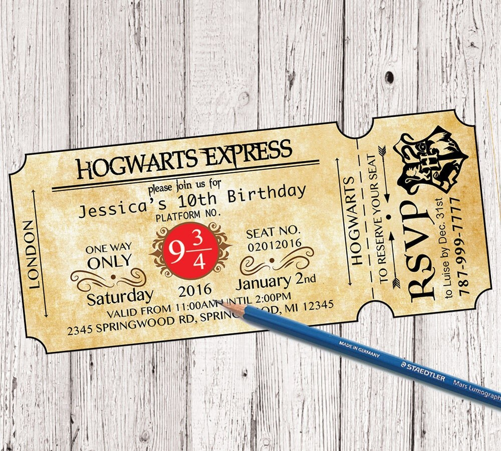 Harry Potter Birthday Party Invitations – Harry Potter Birthday Invitation