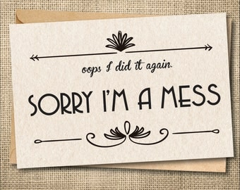 I'm sorry card, Apology Card, I messed up Card, custom greeting card, Funny Apology Card, Sorry Card, Creative apology card