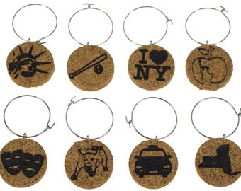 New York Cork Wine Glass Charms- Set of 8 - Designs: Statue of Liberty, Big Apple, Cab, I Love NY, Theatre Mask - Cork Tags to Mark Drinks