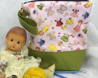 Paperdoll Knitting Bag, Knitting Tote,  Knitting Project Bag, Crochet Project Bag, WIP Project Bag