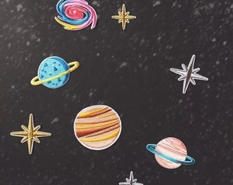 a set universe patch space patch star earth moon embroidered patch iron on patches iron on patch sew on patch