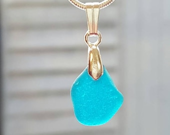 Teal Sea glass Necklace, Aqua, Teal seaglass, Ocean jewelry, seaglass jewelry, Beach find, Beach glass, Eco jewellery, Gift for her