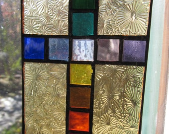 "4""x5"" rainbow colors block cross, stained glass suncatcher, gold starburst with multi colored blocks"