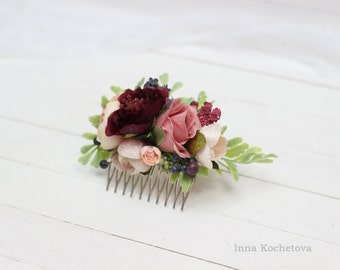 Burgundy beige pink flower comb Floral comb Flower accessory Hair comb Wedding accessory  Bridal flower comb Floral accessory