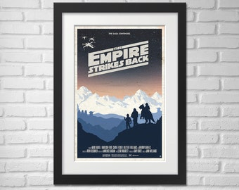 Star Wars Movie Poster Illustration / Star Wars Movie Poster / Movie Poster / Star Wars / The Empire Strikes Back