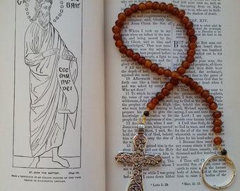 Medieval Paternoster Prayer Beads Rosary Chaplet - 50 Horn Beads & Pewter Cross
