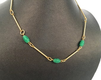 Vintage 24 karat gold plated and jade bead necklace with spring ring clasp