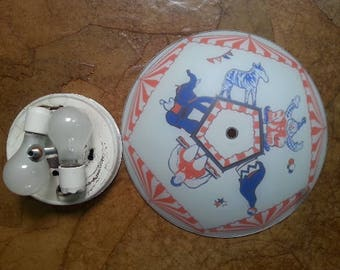 Vintage Circus Theme Ceiling Light Fixture and Cover Vintage Traveling Circus Theme Light