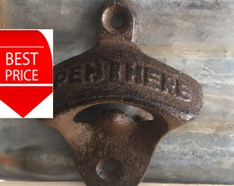 buy 2 get 1 free Rustic Wall Mounted Bottle Opener, Metal Wall Mounted Bottle Opener, Rustic Bottle Opener VERY FAST SHIPPING