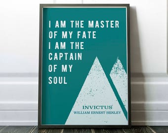 Invictus Printable, Invictus poem, William Ernest Henley,  Master of my fate captain of my soul, inspirational, sport, warrior, little tiger