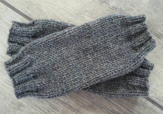 Handmade knitted baby leg warmers - ONE OF A KIND - charcoal grey yarn - baby accessories