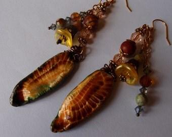 Owl Wing Earrings/Boho Earrings/Forest Wedding/Statement Earrings/Swarovski Crystal/Rhyolite/Jasper/Handmade/Feather Earrings